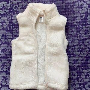Girls white fuzzy vest